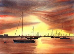 sunset on the mooring
