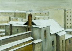 035 guido guazzoni painting winter in the city