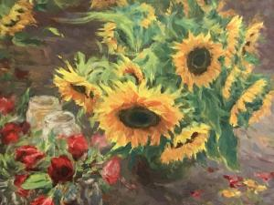 081 paul qian painting rose and sunflower