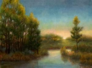 015_painting_dawn in the pine barrens