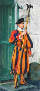073_painting_swiss guard, vatican city, rome