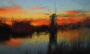 005 cheryl auditor windmill at sunset impasto