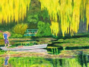 92 christopher taylor painting  giverny water lily gardener