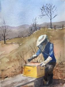 009 andree benoist painting checking the bees after winter in maine