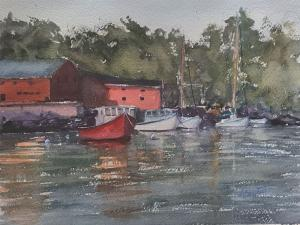 010 andree benoist painting evening in rockport harbor
