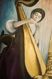 038 shoshana kertesz painting harpist